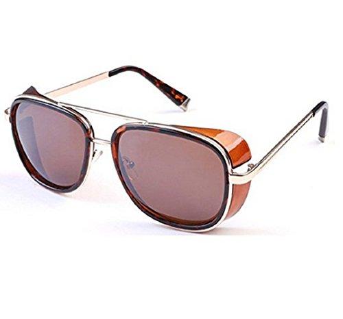 (Leopard-Rahmen Brown Lens) Sonnenbrille Modell Steampunk Iron Man Tony Stark Retro Herren Damen (Muster Man Iron Kostüme)