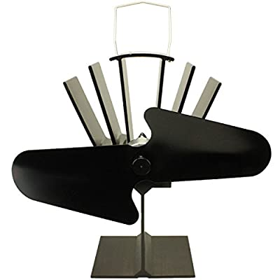 Galleon Fireplaces Heat Powered Stove Fan for Wood/Log Burner, Black