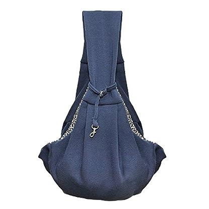 T Tocas Older, Little Cat Dog Puppy Hand-free Slings Carrier, Soft Reversible Shoulder Bag, Weight up to 5kg (Dark Blue) 1