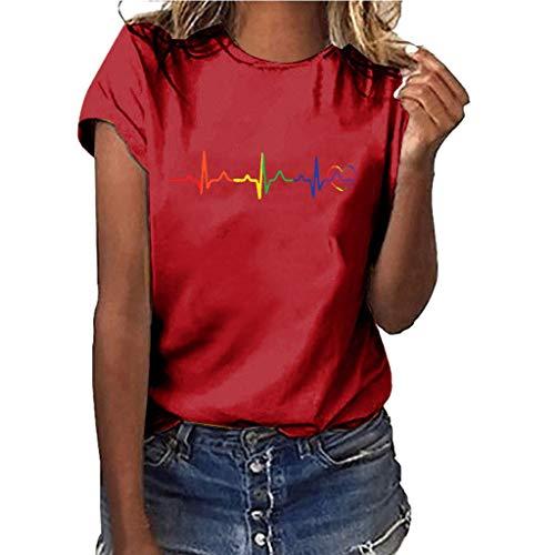 Yvelands-Damen Tops T-Shirt Mädchen Plus Size Print Shirt Kurzarm Bluse Tops(Rot 2,M) (Kleid 3 Zoll Damen Schuh Silber)