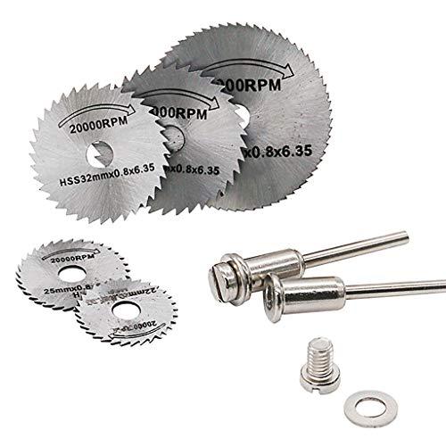 MMLC Kreissägeblatt Set, 7 Stück Drehwerkzeug Handkreissägen mit 3,2 mm Stange,Mini Gelochte Trennscheiben Schneidscheiben für Holz,Plastik,Kupfer,Aluminium und Dünnen Blech (A) -