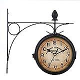 SODIAL Reloj De Pared De Doble Cara De Estilo Europeo Relojes Clásicos Creativos Monocromo