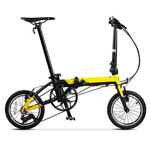 AB folding bike Bicicletta Pieghevole Mini Ultra Light 36cm Piccola Rotonda Studenti Adulti Uomini e Donne Bicicletta - Gialla