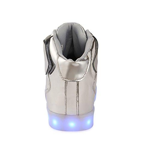 FLARUT 7 Farbe USB Aufladen LED Leuchtend Leuchtschuhe Blinkschuhe Sport Schuhe für Jungen Mädchen Kinder Silber