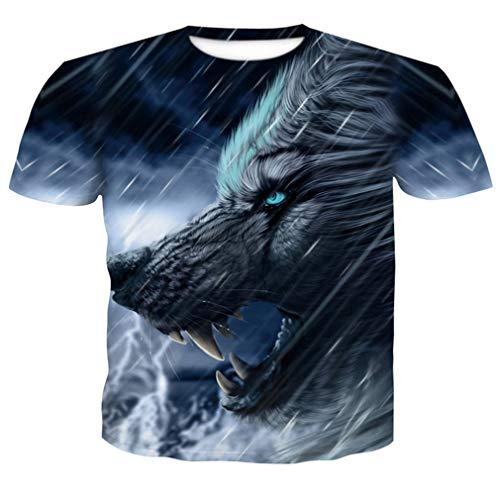 Harajuku Wolf 3D Drucken Cooles T-Shirt Männer Kurzarm Sommer Tops Tees T-Shirt T-Shirts Männer T-Shirt Mode Kleidung Orange M