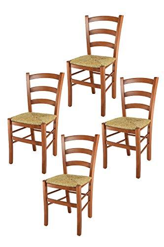 Tommychairs 4er Set Stühle Venice für Küche und Esszimmer, robuste Struktur aus lackiertem Buchenholz im Farbton Kirschbaum und Sitzfläche aus Stroh. Set bestehend aus 4 Stühlen Venice (Stühle Kirschbaum Esszimmer)