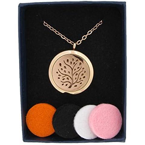 Fragrance Gift chirurgico 316l, grado Hypoallegenic in acciaio inox, diffusore di oli essenziali per aromaterapia, (Oro Diffusore)