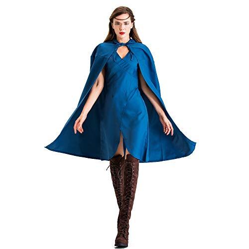 BGROEST Halloween Lady Kleid Damen blau Halloween Kostüm Kostüm Mantel EIS und Feuer Song Cosplay Kleidung (Farbe : Blau, Größe : XL) (Für Erwachsenen Eis König Kostüm)