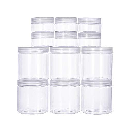 BENECREAT 12 PACK 4/17 oz (120ML / 500ML) Slime Storage Favor Gläser Klare leere Weithals-Kunststoffbehälter mit klaren Deckel für DIY Schleim machen - 1.7 Unzen-glas
