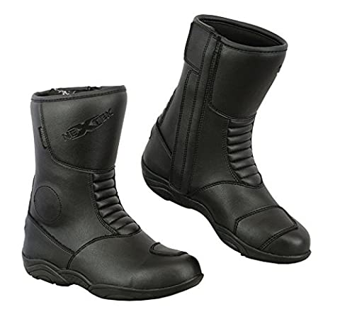 Storm - 100% Leather High Ankle Mens Motorbike Armoured Boots Anti Slip Rubber Soul Motorcycle Waterproof Cruiser Boot Shoes Racing Sports | Full Black, UK 5 / EU 39