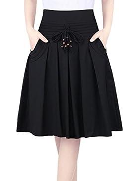 ZhiYuanAN Mujer Falda Plisada Con Chic Cordón Talla Grande Falda De Vuelo De Cintura Alta Casual A Línea Faldas...