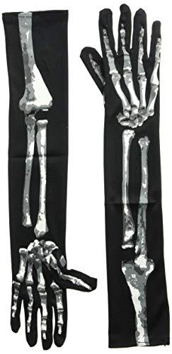 Amscan Halloween Accessoire Verkleidung Skelett Handschuhe ()