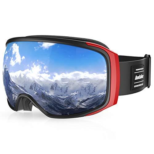 Andake Brillenträger | Anti-Fog Anti-Kratzen/Beschlag UV400-Schutz | verspiegelte sphärische Linse Schwarz Skibrille Goggle Snowboardbrille Herren Damen Erwachsener, Grau/VLT 9.4%