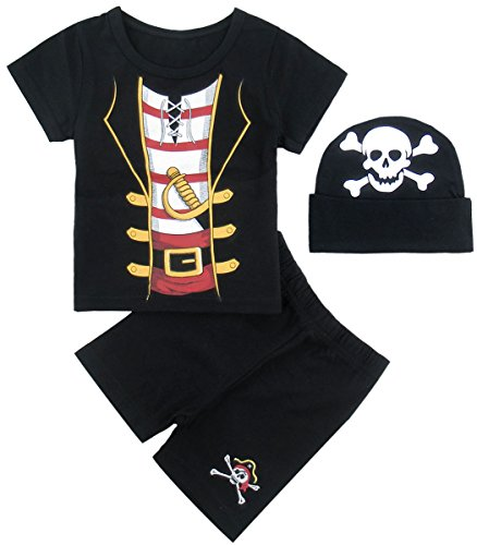 Mombebe Baby Jungen Halloween Piraten Shirt Sets mit Hüte (12-18 Monate, (Outfits Kleinkinder Piraten Für)
