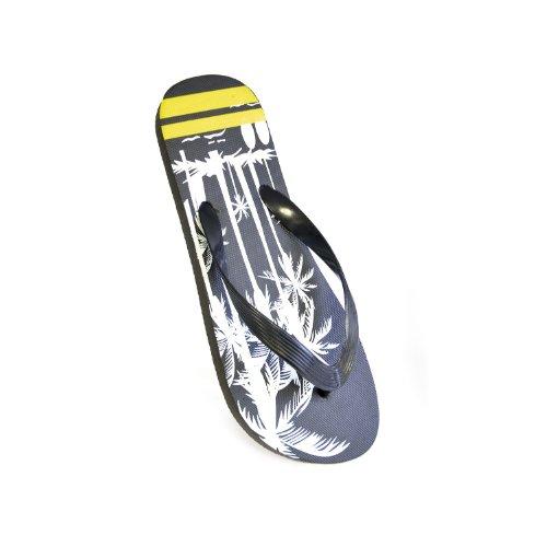 FLOSO® Herren Flip Flops Streifen/Palme Schwarz