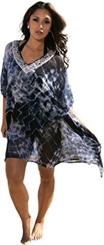 Ingear Embellished Beaded Poncho (One Size, Blue)