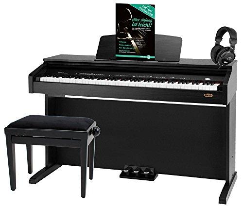 Classic Cantabile DP-210 SM E-Piano SET inkl. Bank, Kopfhörer und Schule (Digitalpiano mit Hammermechanik, 88 Tasten, 2 Anschlüsse für Kopfhörer, USB, Metronom, 3 Pedale, Piano für Anfänger, inkl. Noten) schwarz matt