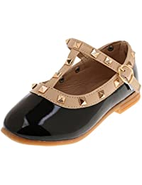 Phenovo Kids Girls Flat School Shoes Faux Leather Mary Jane T-Bar Dress Ballet Shoes
