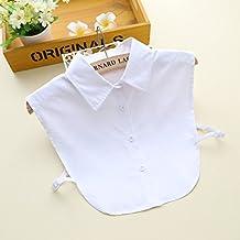 staccabile Metà delle donne bianche di cotone della camicia camicetta collare di falsificazione - 1 pezzo