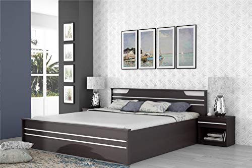 Zuari Neo King Size Engineered Wood Bed With Hydraulic Storage (Particle Board - Imperial Teak)