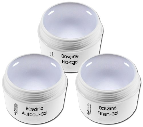00369 Lot de 3 flacons de gel UV pour décoration d'ongles, transparent 15 ml