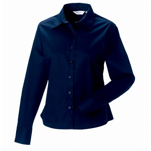 Russell Collection Damen Hemd / Bluse, Langarm Blau