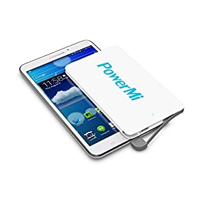 PowerMi® - Batería externa móvil ultra delgada y ligera de 4000 mAh perfecta para el traje, bolsillo o bolso – Adaptador incorporado para iPhone - Cargador externo portátil – Power Bank