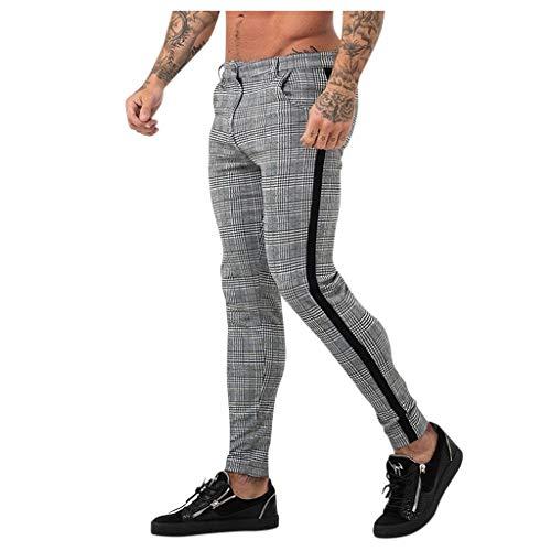 beautyjourney Pantalón Chino de Tela para Hombre Raya a Cuadros Pantalones Casuales Deportivos Largos Pantalones de Entrenamiento elásticos para Culturismo Pantalones de Jogging