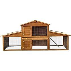 PawHut Conejera de Exterior Grande Gallinero Pajarera Granja Casa para Animales Pequeños Gallinero 215x63x100cm Madera