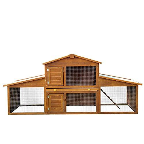 PawHut Conejera de Exterior Grande Gallinero Pajarera Granja Casa para Animales Pequeños Gallinero...