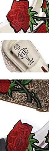 SHEO sandales à talons hauts Ladies europeenne et américaine chaussures de mode chaussures transparentes pantoufles cool ( Couleur : Silver , taille : 40 ) Silver