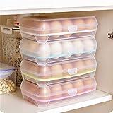 Szaerfa eierhouder voor koelkast, plastic stapelbare eieropbergdoos eierrek met deksels - doorzichtige eiercontainer dispenser voor 30 eieren - 1 pak (Groen)
