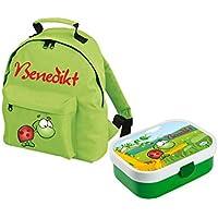 Preisvergleich für Mein Zwergenland Set 1 Kindergartenrucksack und Brotdose Brotdose Mepal mit Bento Box und Gabel Classic mit Namen, 2-teilig