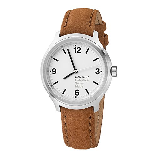 £324.59 Best Mondaine Helvetica No1 Bold Women's Watch, Date and Big Digits with Brown Leather Strap