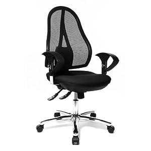 Topstar Open Point SY Deluxe, ergonomischer Syncro-Bandscheiben-Drehstuhl, Bürostuhl, Schreibtischstuhl, inkl. Armlehnen (höhenverstellbar), Stoff, schwarz