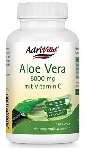 Aloe-vera-gel Tabletten (Adrivital Aloe Vera Barbadensis Miller mit Vitamin C, 120 Kapseln, vegan)