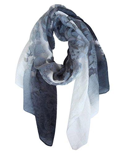 GoGou leichte Sommerschals: Mode-Spitze-Druck-Schal für Frauen Wrap (BlackGray) (Mode Seide Frauen)