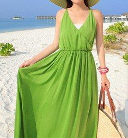 Smile YKK Femme Robe Bohême Peplum Uni Chiffon Slim Design Beauté de Beach Vert