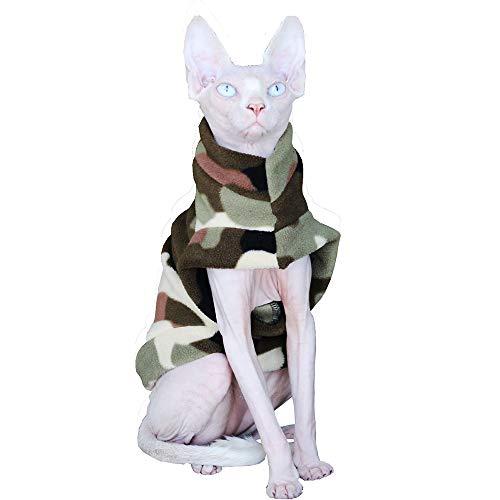 Khemn Designer Militär-grüner Warmer Katze Pullover mit Dicke Baumwolle Haarlose Katze (L)