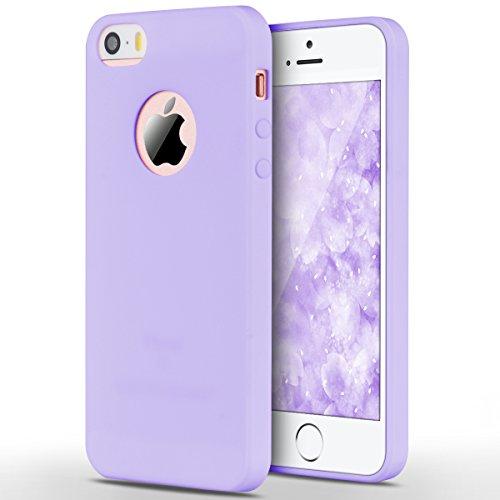 iPhone 5 / 5S / SE Hülle, Yokata Einfarbig Jelly Weich Silikon Gel Case Ultra Slim Matte Cover Anti-Fingerprint Schutzhülle Sehr Dünn Handyhülle - Lila (Jelly Lila Iphone 5 Case)