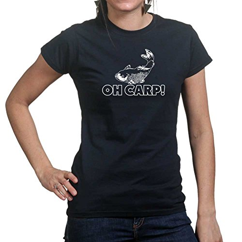 WomensOhCr*pCarpFunnyFishingReelBaitLadiesT Shirt(Tee,BLK Small Black (T-shirt Tee-small Black Lustige)