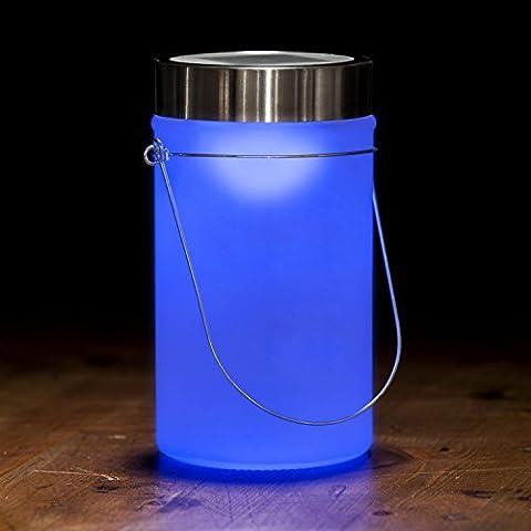 LED Solarlampe - Die Sonnen-Lampe Deko Sun Jar Solar-Laterne im Einmachglas mit Bügel; Blaues