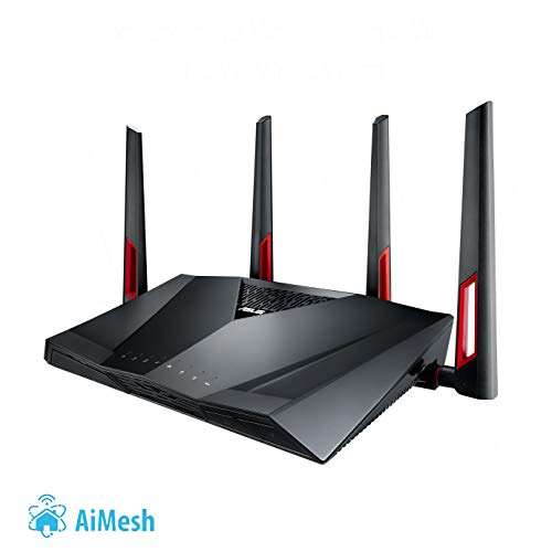 Asus RT-AC88U Gaming Router (Ai Mesh WLAN System, WiFi 5 AC3100, Gaming Engine, 8x Gigabit LAN Link Aggregation, 1.4 GHz DC CPU, Alexa & IFTTT & App Steuerung, AiProtection, USB 3.0)