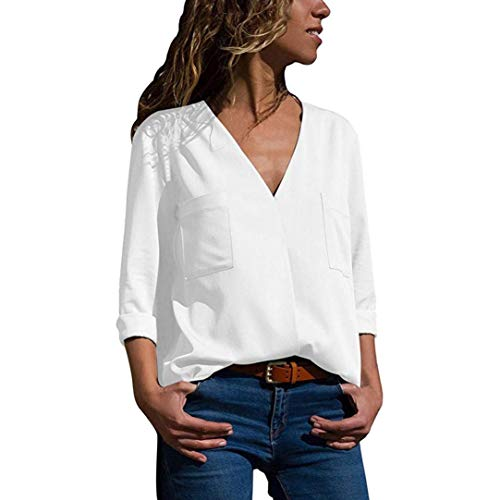 TEBAISE Damen Chiffon Bluse V-Ausschnitt Shirt Casual Langarm Oberteile Einfarbig Elegante Tunika Top Locker Langarmshirts mit Tasche Frauen(Weiß,XL)