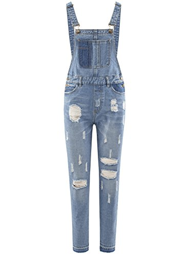 oodji Ultra Damen Jeans-Latzhose im Flickendesign Blau (7000W)
