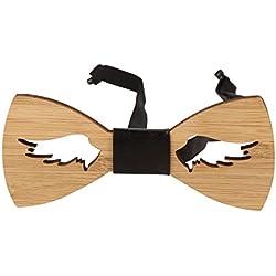 Snobbop Pajarita Woody Wings bambú madera cierre de gancho corbata de moño