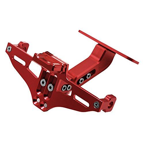 Universal Einstellbar CNC Aluminum Motorrad Kennzeichenhalter Fender Eliminator Halter mit Aluminium Lizenz Licht für MT-01 MT-03 MT-07 MT-09 MT-10 TMAX530 TMAX 500 YBR 125 XMAX XJ6 XJR1300 r3 (Rot)