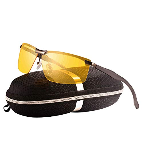 HD Nachtsichtbrille Autofahrer Brille Nachtsicht Anti-glanz Nachtfahrbrille Fahrer Auto (Rahmen: Metallic farbe,Linsen: Gelbe)