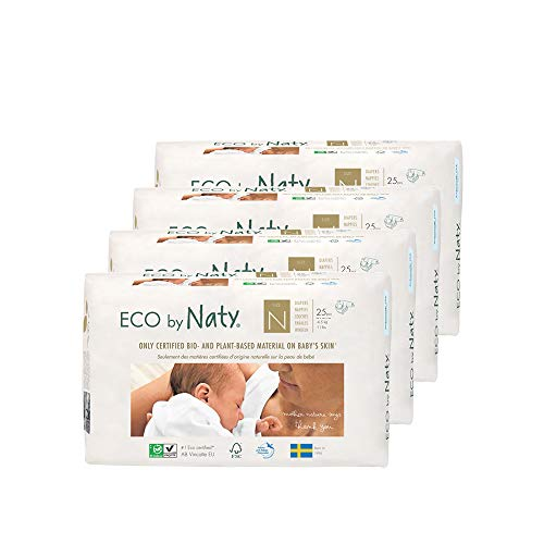 Eco by Naty, Size Newborn, 100 Nappies, -4.5kg, ONE MONTH supply, Plant based premium ecological diaper with 0% oil plastic on skin.