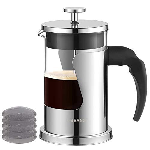 Kaffeebereiter French Press Teebereiter Kaffee-Kanne Aus Glas Mit Edelstahl-Rahmen Coffee Press mit 5 Edelstahl-Ersatzfiltern aus Borosilikatglas 600 ml